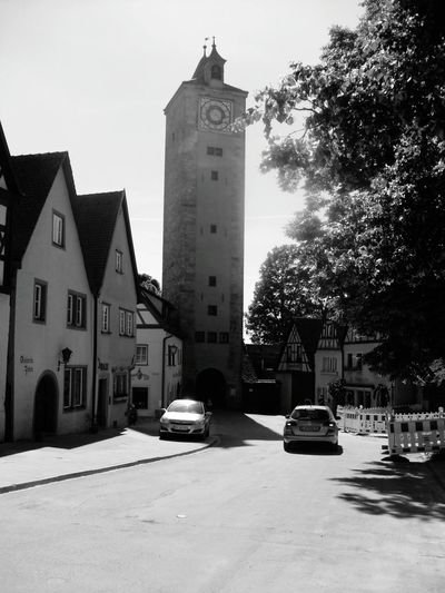 Rothenburg, Germany Architecture Built Structure Clock Tower Street Bell Tower Travel Destinations City Life Building Exterior Rothenburg Germany🇩🇪 Travel Photography Travelingtheworld  Black & White