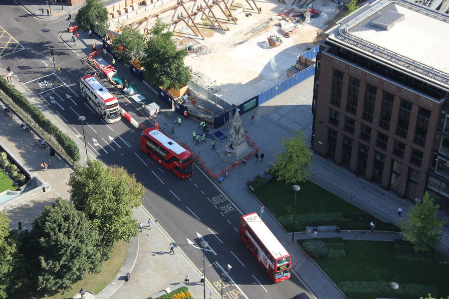 Birdview Bus City Day Double Decker Bus High Angle View Mode Of Transport Road Street Traffic Transportation