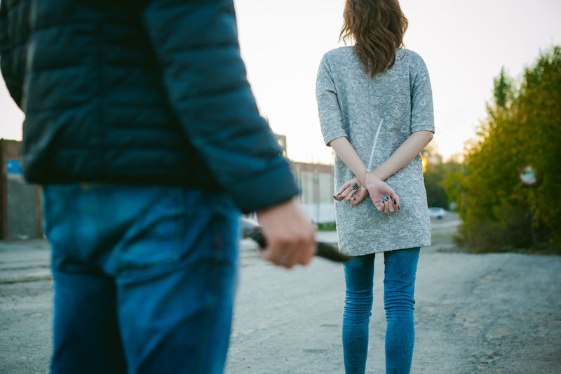 Bonding Casual Clothing Close-up Couple - Relationship Day Focus On Foreground Friendship Full Length Holding Hands Leisure Activity Love Nature Outdoors People Real People Rear View Standing Togetherness Two People Women Young Adult Young Women
