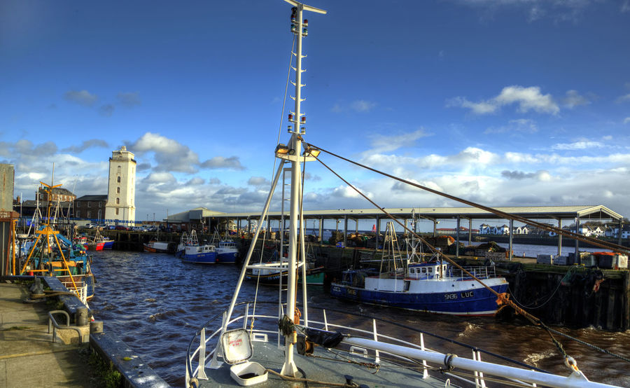 Fishing Harbor Fishing Boats Fishing Harbor River Tyne, Watch Tower Architecture Boat Building Exterior Built Structure Cloud - Sky Day Harbor Mast Mode Of Transport Moored Nature Nautical Vessel No People North Shields Quay Outdoors Sky Transportation Water