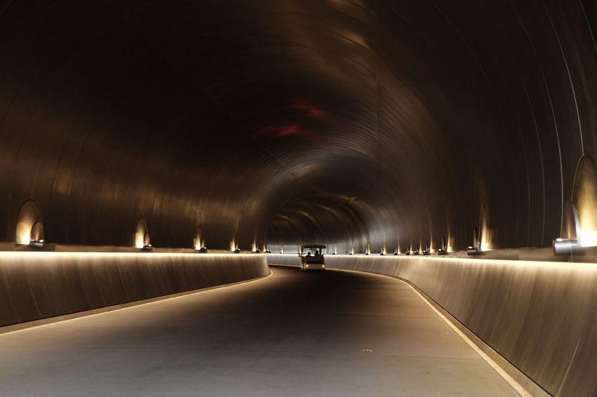 トンネル Illuminated The Way Forward Transportation Indoors  No People