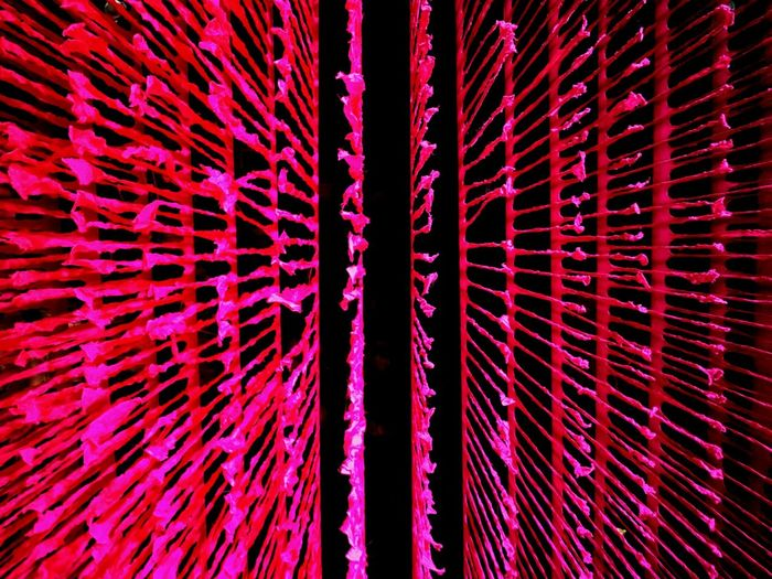 Abstract ceiling decor. Decor Decoration Decorations Full Frame Backgrounds No People Ceiling Decorations Hanging Bright Eye Catching Eye4photography  Pink Red Abstract Abstract Photography Roof Decorative Patterns Lines Weird Divergent Spread Confusion Art Low Angle View