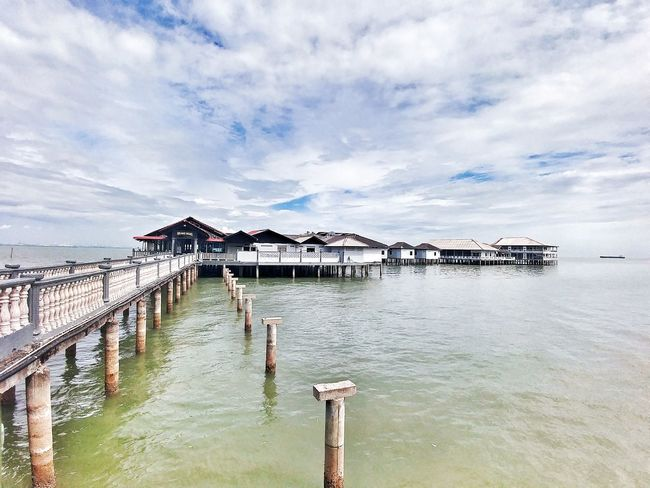 Sea Water Vacations Pier Outdoors Beach Cloud - Sky Landscape Nature Sky Harbor No People Day Beauty In Nature Wheelchair Access Traveling Beauty In Nature Travel Destinations Malaysia Tanjung Piai Resort LG G5 Photography Wide Angle
