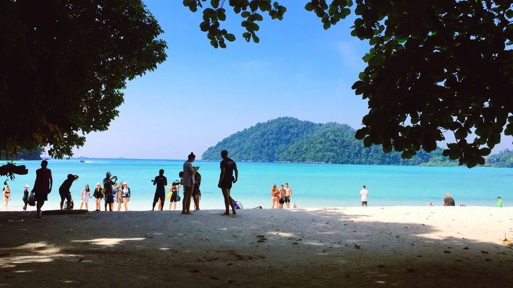 Beach Life Nice Beach Surin Islands Andaman Sea Seascape Sea And Sky Sea Nicebeach Nature Large Group Of People Water Tree Real People Beach Beauty In Nature Sky Leisure Activity Day Outdoors Lifestyles Mountain Women Men Sea Sand