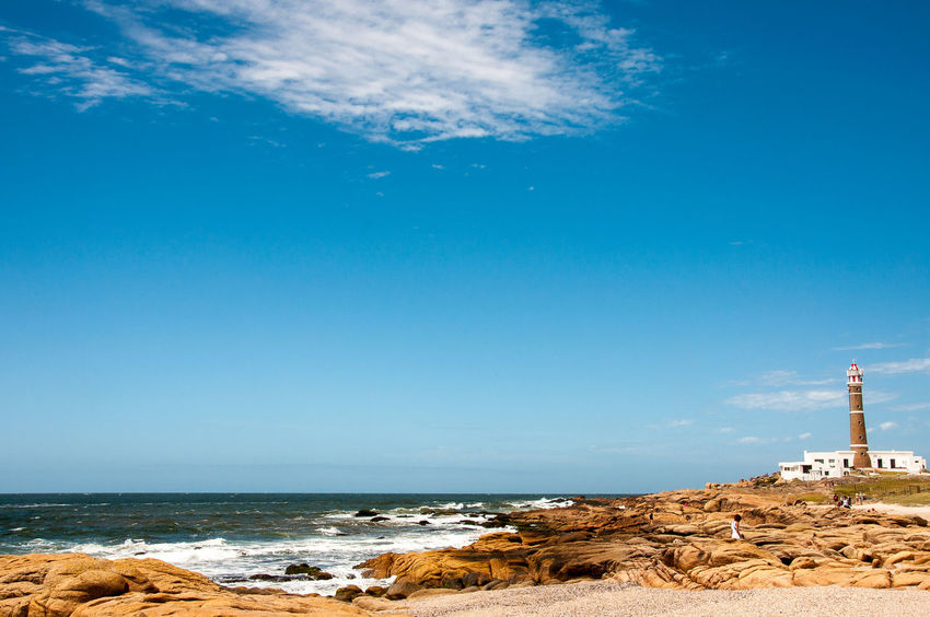 Cabo Polonio Beach Beauty In Nature Blue Cloud - Sky Day Horizon Over Water Lighthouse Nature No People Outdoors Rock - Object Sand Scenics Sea Sky Uruguay Water Wave