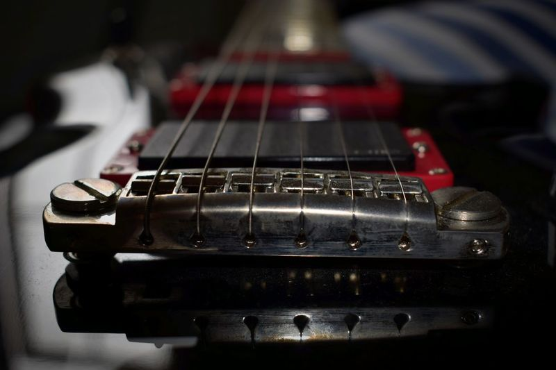 Extreme close-up of electric guitar