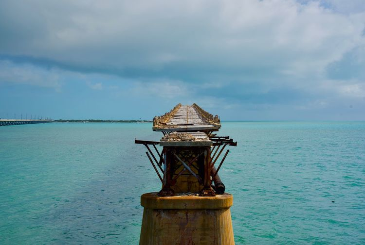 What remains of the original overseas railroad going to Key West, Nikon Nikon D750 Florida Florida Keys Water Reflections Agua Sky Cielo Blue Azul Abandoned Abandoned Places Horizon Over Water Nature Horizon Cloud - Sky Sea Day Beauty In Nature Scenics - Nature Built Structure Outdoors Water Tranquility Tranquil Scene