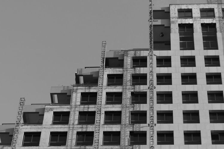 Architecture Building Exterior Built Structure Low Angle View Building Sky Clear Sky Construction Industry Window Development Day Construction Site No People Incomplete Outdoors City Residential District