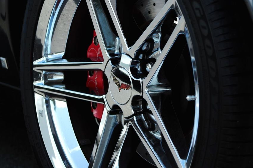 Transportation Tire Wheel Mode Of Transport Land Vehicle Spoke Red Close-up Outdoors No People Vehicle Part Day Corvette Luxury