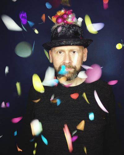 Confetti Portrait Confetti Leasure Activity One Person Multi Colored Adult Adults Only Portrait One Man Only Indoors  Only Men Human Face Men Making A Face Close-up Flower Real People People Human Body Part Headwear