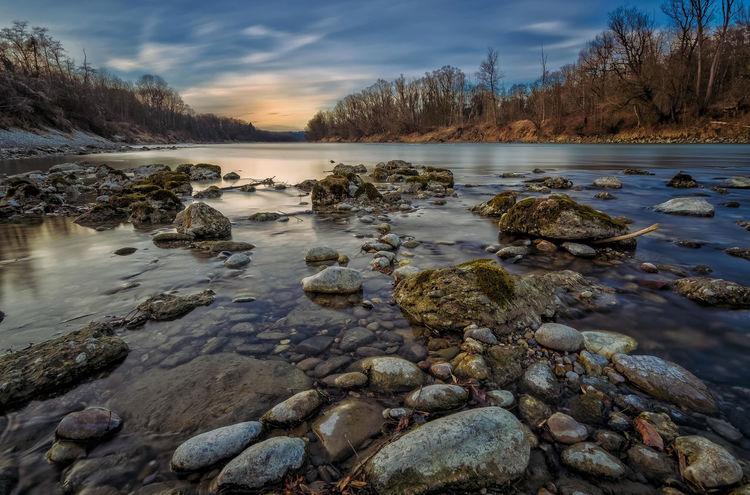Abenddämmerung Abendstimmung Felsen Fluss Im Winter Fluss Inn Flusslandschaft Flussufer Inn Kieselsteine Landkreis Mühldorf