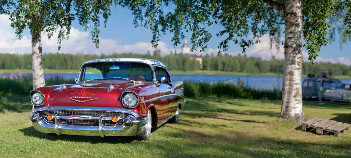 Classic Car Plant Water Day Nature Motor Vehicle Grass Lake Retro Styled Outdoors