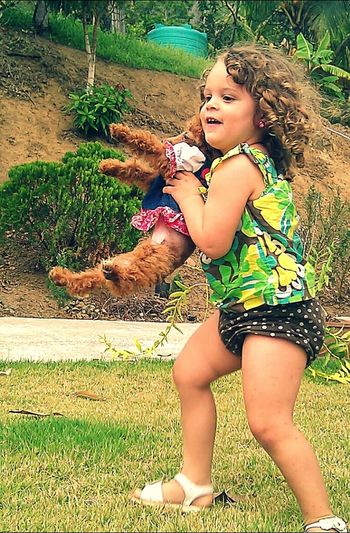 Almost kill that little dog, after that I run after her and yell noooooo! Late she trow her :-o, kids! Kids Dog Danger Kids! Everyday Joy