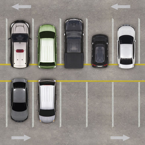 High angle view of cars in parking lot