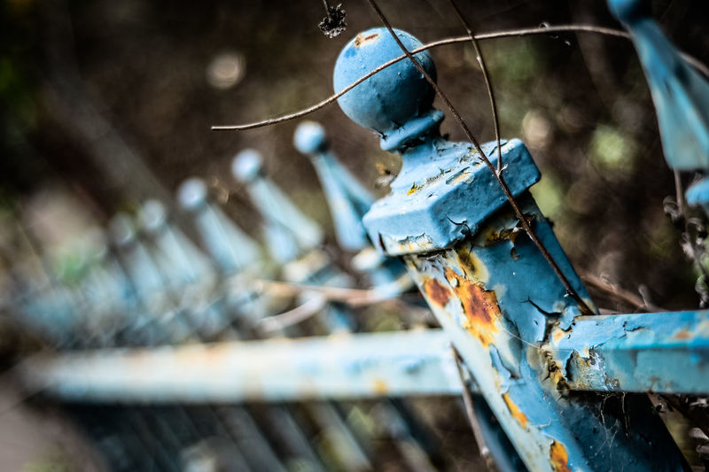 Close-up of rusty railing