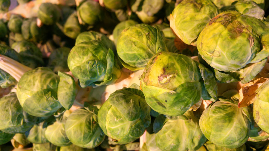 Close-Up Of Brussels Sprouts For Sale At Market