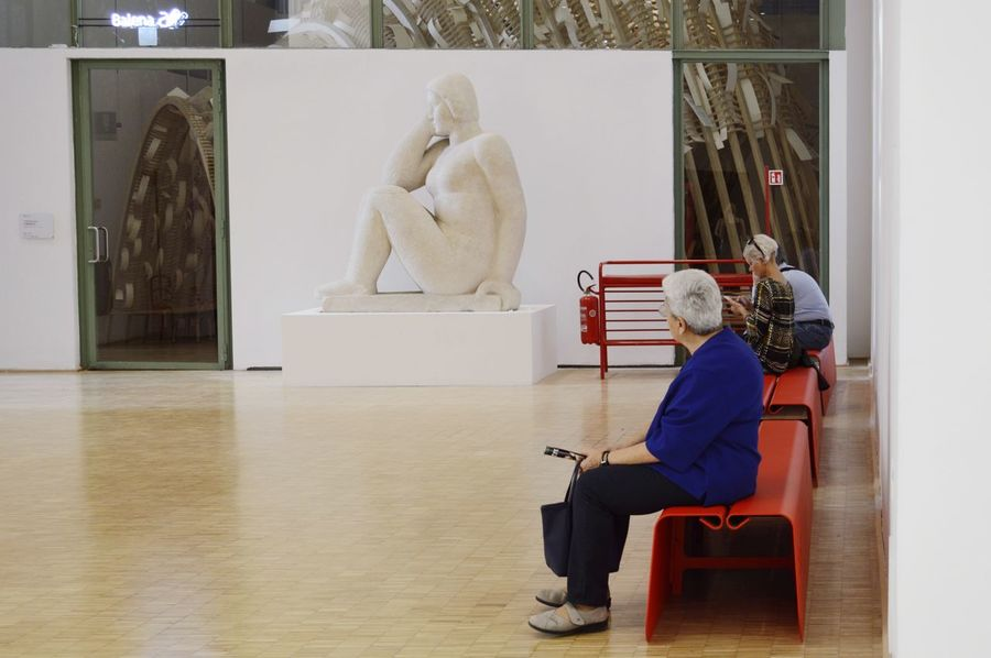 Museum Museum Of Modern Art Discover Your City RePicture Ageing Architecture_collection Architecture Art is Everywhere Streetphotography This Is Aging Full Length Sitting Statue Sculpture Women Artist Human Representation Art Sculpted Art Museum