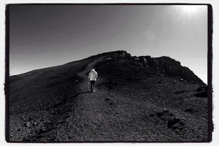 Alone going to Uhuru Peak ,Kilimanjaro Mountain . Eye4black&white  EyeEm Best Shots EyeEm Nature Lover Eye4photography