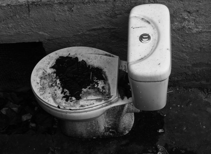 Outdoors High Angle View Blackandwhite Abandoned Out Of Use  Toilet Bowl Close-up Deterioration Discarded End Plastic Pollution