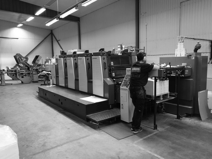 Indoors  Full Length Printing Press Printer Black And White