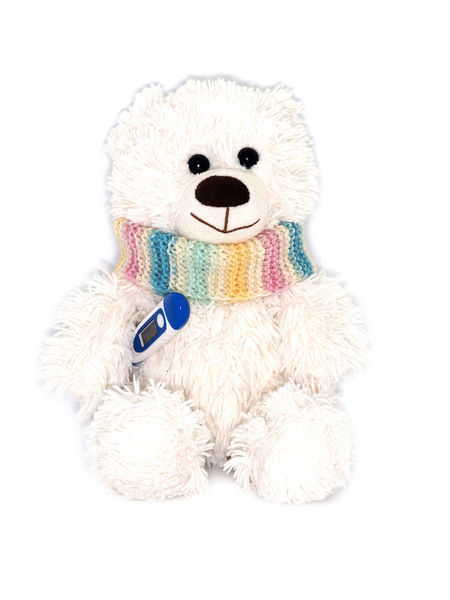Child Childhood Close-up Coldness Illness Medecine No People Scarf Smile Softness Studio Shot Stuffed Toy Teddy Bear Temperature Thermometer Toy White Background