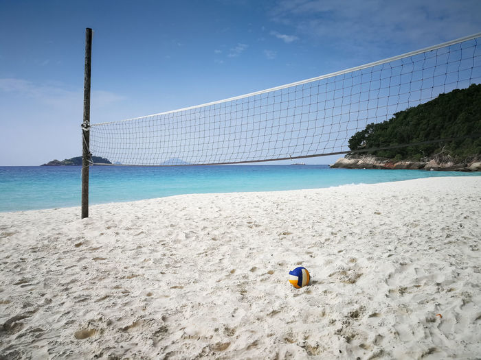 Water Sky Land Sea Nature Beach Sand Day Net - Sports Equipment Beauty In Nature Scenics - Nature Cloud - Sky Sport Outdoors Blue Beach Volleyball Tranquility No People Tranquil Scene