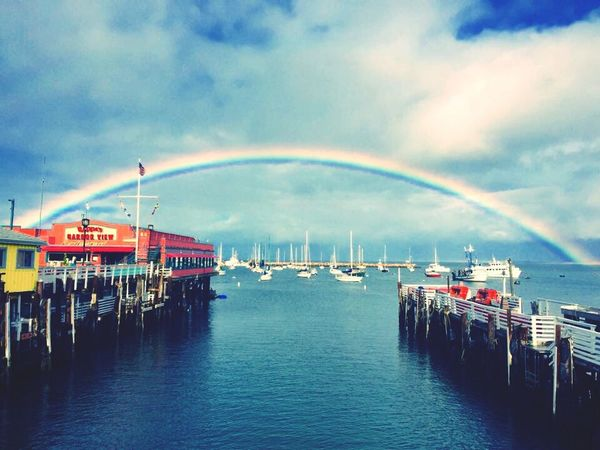 Monterey Monterey Bay Rainbow Ocean Beautiful Day IPhoneography Iphone6 Fisherman's Wharf Sea And Sky Clouds And Sky Boats WestCoast California Dreamin