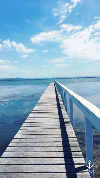 Jetty Jetty View Long Jetty Summer Day Views Water Views Water Blue No Waves Scenics Boardwalk Beach Sky Lake Lake View Bridge Bridge Over Water Wooden Bridge Wooden Jetty Railing Photography Pictures Landscapes Water Landscape