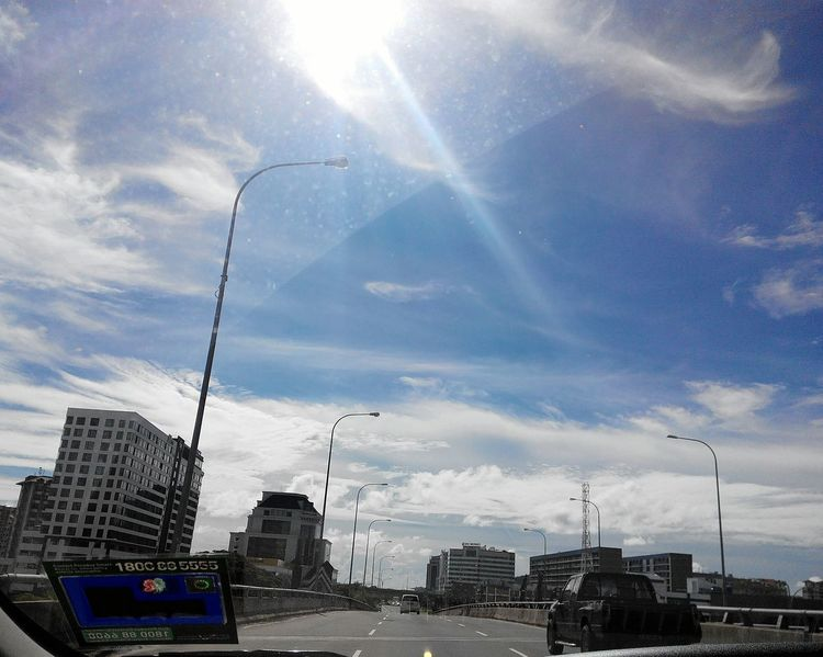 Not the best shot, but the sky was lovely that day. City Life Kk City My Point Of View Sabah Play Of Light One Filter Limit Kota Kinabalu Blue Skies