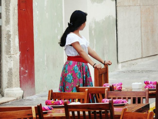 People One Person Outdoor Photography Restaurant Waitress At Work One Young Woman Only Campeche Street Restaurant Table