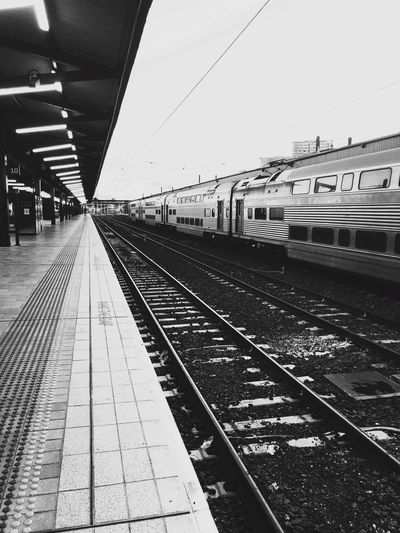 Vintage Blackandwhite Photography Blackandwhite EyeEm Gallery Picoftheday Photography vanishing point Rail Transportation Transportation Railroad Track Track Built Structure Architecture Public Transportation Sky Railroad Station Platform Railroad Station Mode Of Transportation Nature Day Outdoors Diminishing Perspective Travel Train No People The Way Forward Direction
