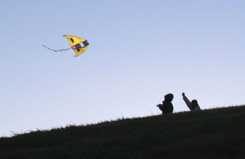 Low angle view of kite flying over landscape