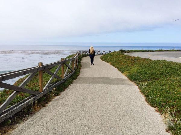 Path Walking Journey Long Hair Blonde West Cliff Drive Santa Cruz California United States June Showcase Free Ocean Pacific