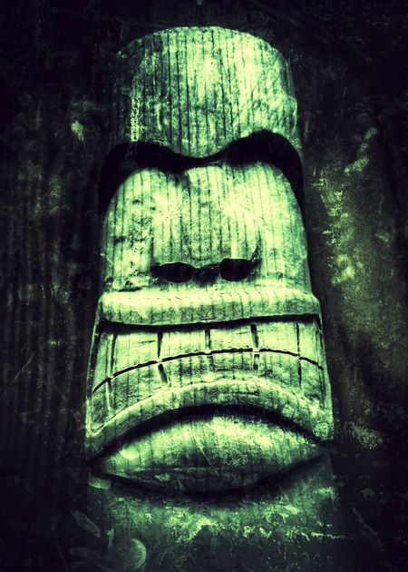 Eye4photography  EyeEm Best Shots Xperiaphotography Totem Hawaiian Style Wooden Wooden Art ArtWork Selfmade Green And Black Dark Background Angry Face Spirituality Art Face Wooden Texture Wood Art Woodworking Voodoo Ancientart
