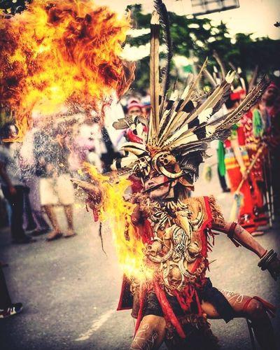 Dayak Tribe In action, the origin tribe of Borneo. Dayak Culture Borneo Mandau Celebration Performance Carnival Festival Traditional Dancing Firework - Man Made Object Carnival - Celebration Event Firework Display Entertainment