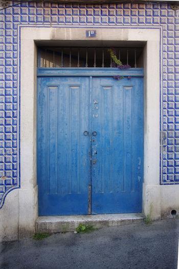 Architecture Blue Building Exterior Door Doorway History Lisbon Street Lisbon Streets Street Tile Building Tile Work Weathered