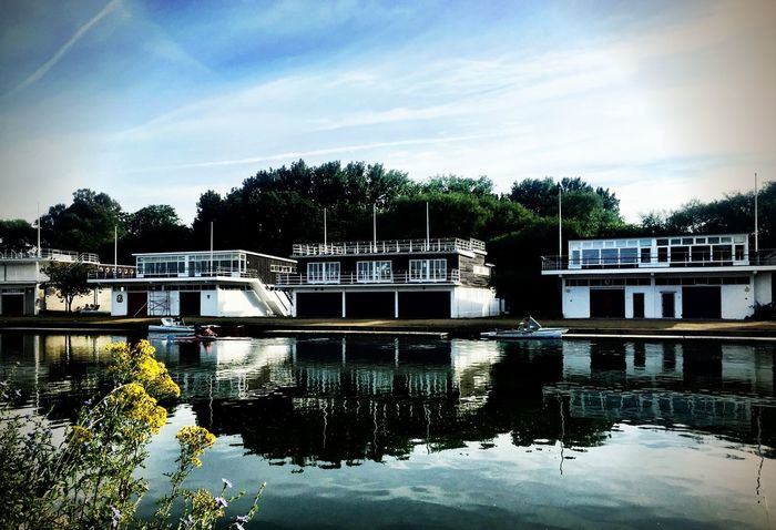 Boathouses Reflections In The Water River Riverside
