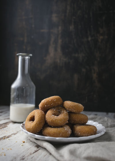 Close-Up Of Donuts On Plate
