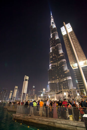 Low Angle View Of Burj Khalifa Against Sky At Night