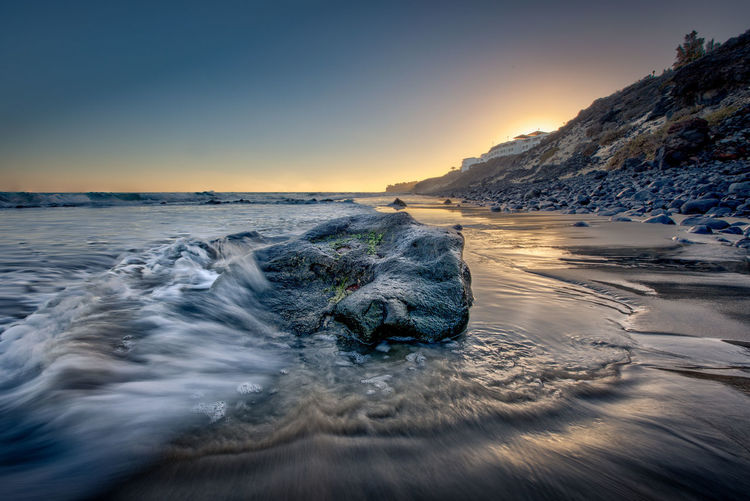 What do you prefer? Color or black and white? Atlantic Ocean EyeEmNewHere Fuerteventura HDR Rock Beauty In Nature Clear Sky Day Long Exposure Mountain Nature No People Outdoors Rock - Object Scenics Sea Sky Sunset Tranquil Scene Tranquility Water Wave Waves