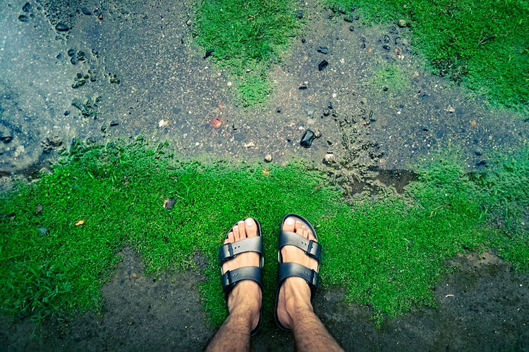 Low Section Human Leg High Angle View Standing Day Green Color Personal Perspective Human Body Part Human Foot Directly Above Outdoors Grass Real People Water One Person Men Women Adult Adults Only Nature Raindrops EyeEm Phillipines The Great Outdoors - 2017 EyeEm Awards Live For The Story BYOPaper! Out Of The Box Lost In The Landscape