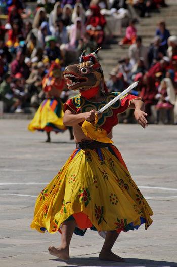 Monk perfoms during annual thimpu tshechu.