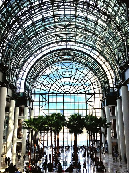 NYC Photography Battery Park Wintergarden Large Group Of People Architecture Shopping Mall Built Structure Arch Railroad Station Real People Travel Destinations City Life Modern Indoors  City People Building Atrium Day Sky EyeEm Best Shots