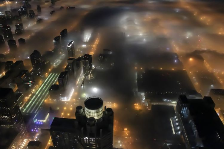 Foggy Chicago Chicago Architecture Illuminated Night City Cloud - Sky Cityscape No People Built Structure Sky Modern Outdoors City Life High Angle View Skyscraper Financial District  Aerial View Urban Skyline Urban Foggy Foggy Morning Morning Light Dawn City Weather