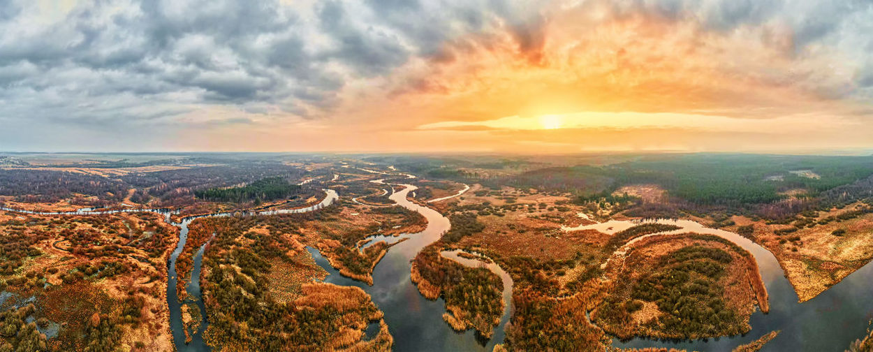 Sunrise over river in walley, aerial view. nature landscape. panorama
