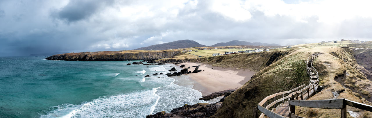 Atlantic Beach Beauty In Nature Cliff Cloud - Sky Clouds And Sky Coastline Coastline Landscape Durness Durness, UK EyeEmNewHere Landscape Landscape_Collection Nature No People Panorama Panoramic Scenics Sea Travel Destinations