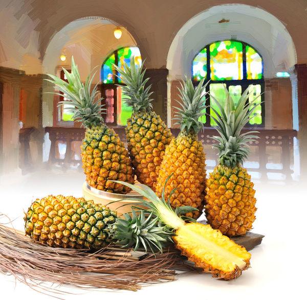 健康食物 台灣水果 室內 新鮮 水果 水果月曆 油畫 特寫 背景 自然 農作物 食材 食物 鳳梨