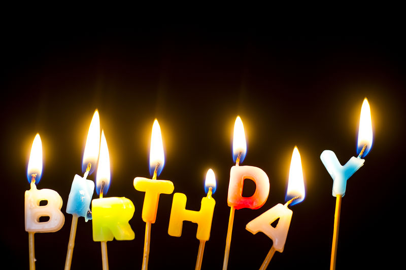 Happiness Happy Birthday Birthday Candles Black Background Candle Close-up Fire Indoors