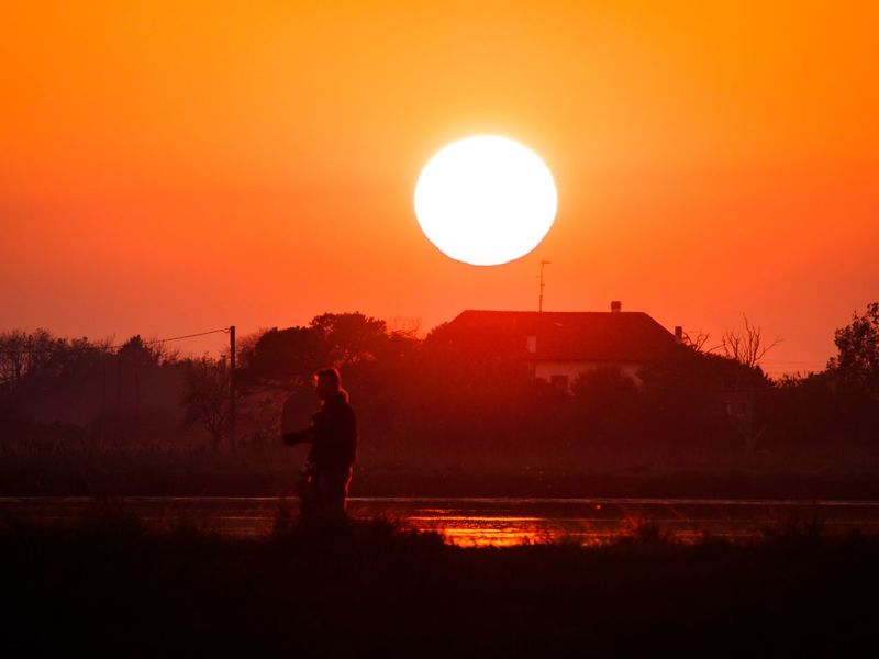Sunset Silhouette Beauty In Nature Outdoors People Real People Nature Sky Day Landscape Landscapes Water Reflections Cervia Walk Daddy And Son One Person Only Men Adults Only Adult Ball One Man Only Astronomy Solar Eclipse EyeEmNewHere
