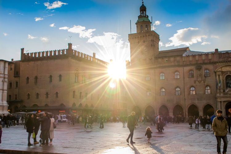 Piazza Maggiore Travel Photography Piazza Maggiore Bologna Italy Large Group Of People Built Structure